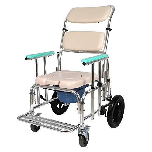 lHishop Silla De Ruedas Ducha Silla De Transporte Asistente Asiento Impulsado Acolchado Silla De Baño para Ancianos Discapacitados Y Discapacitados Inodoro