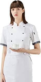 Sentao Professional Chef Jacket, Short Sleeve, Unisex, Modern Fit, White & Black&Blue Available, Sizes M to 4XL