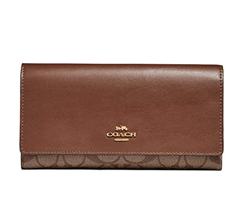 Coach Signature Leather Trifold ID Wallet - #F88024, Brown, Medium