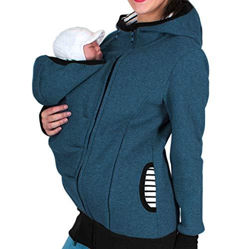 Riou Damen Winter Tragejacke für Mama und Baby 3in1 Kängurujacke Warme Zipper Hooded Mutterschaft Schwanger Tragepullover (XL, Blau)