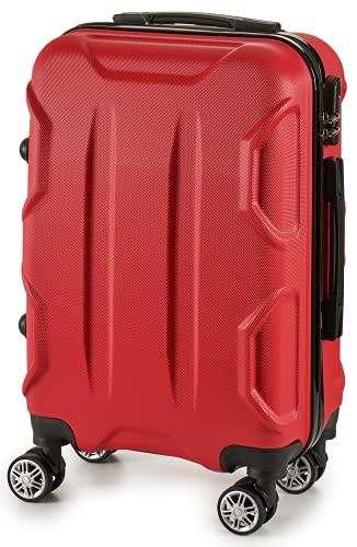 TIENDA EURASIA® Maletas de Viaje Tamaño Cabina - Material Rígido ABS - Maleta con Ruedas Giratorias 360º - Bloqueo de Código - 22 x 57 x 37,5 cm (Rojo 2)