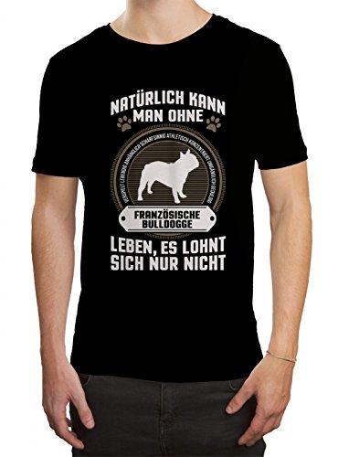 Französische Bulldogge Premium T-Shirt   Eigenschaften   Hunde   Tier   Herren   Shirt © Shirt Happenz, Farbe:Schwarz (Deep Black L190);Größe:XL
