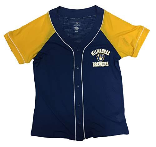 Campus Lifestyle Milwaukee Brewers Women's Button Down Mesh Team Baseball Jersey (Medium 8/10) Blue