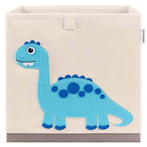 CLCROBD Foldable Animal Cube Storage Bins Fabric Toy Box/Chest/Organizer for Kids Nursery, 13 inch (Dinosaur)