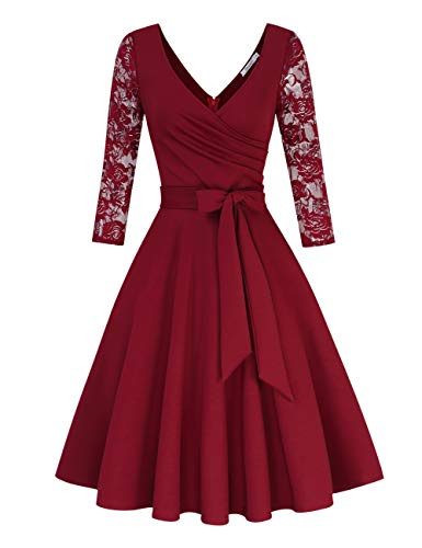 KOJOOIN Damen Spitzenkleid Vintage 50er V-Ausschnitt Abendkleid Rockabilly Retro Kleider Hepburn Stil Cocktailkleid Langarm Weinrot【EU 34-36】/S