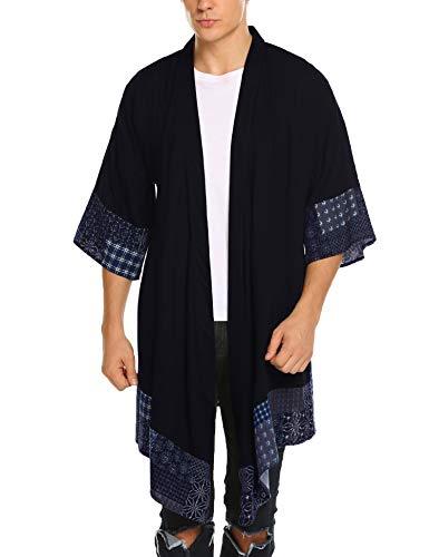 COOFANDY Chal para hombre con volantes, cuello de algodón, chaqueta larga, kimono, chaqueta abierta, capa frontal azul marino L