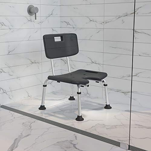 Flash Furniture HERCULES Series Tool-Free and Quick Assembly, 300 Lb. Capacity, Adjustable Gray Bath & Shower Chair with U-Shaped Cutout