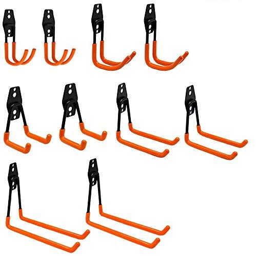 UISEBRT 10 Stück Doppelhaken Wandhaken Garage - Multi Größe Heavy Duty Eisen Wandhalterung Werkzeughalter Haken für Leiter, Fahrrad, Elektrowerkzeugen, Sperrigen Gegenständen (10 Stück)