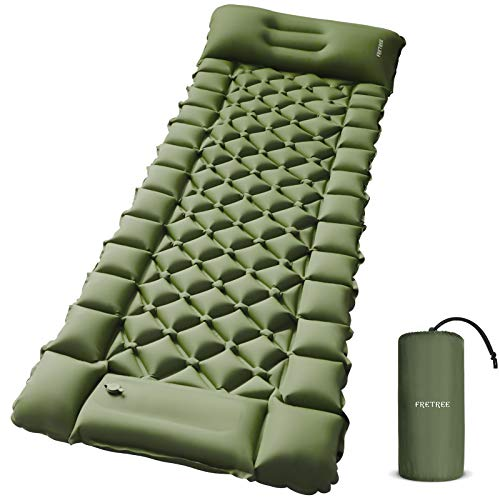 FRETREE Camping Air Sleeping Pad Mat - Foot Press Inflatable Lightweight Backpacking Pad for Hiking...