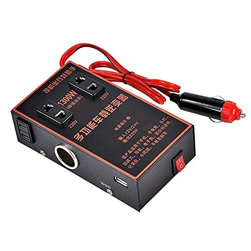 QiKun-Home Inversor de Coche 12v 24v Universal a 220v Cargador de conversión de Toma de Corriente Multifuncional para Camiones de automóviles Negro
