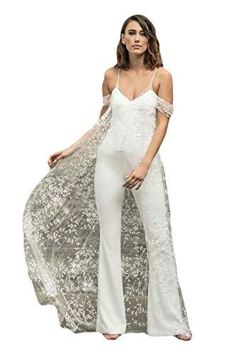 The Peachess Hochzeit Jumpsuit Strand Brautkleider mit Umhang V Ausschnitt Knöchellang Boho Brautkleider Gr. 38, weiß