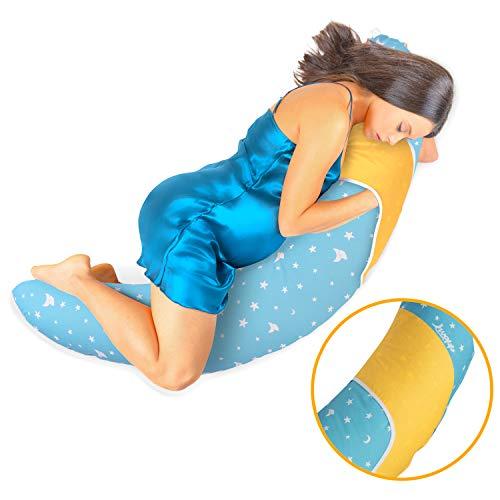 Iwopp Duo - Almohada de Embarazo con Portabebés, Nueva Generación, Recién Nacido Lactancia, Soporte Cervical Lumbar Multifuncional, Funda de Almohada Desmontable y Lavable Hipoalergénica Algodón