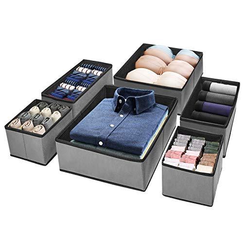 Puricon 【6 Stück Aufbewahrungsbox Stoffbox Stoff Set Faltbox für Schubladen Schrank Tische Ordnungssystem, Faltbar Unterwäsche Socken Schals Krawatten Organizer Drawer Divider Cubes Container -Grau