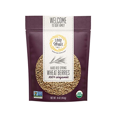 1000 Springs Mill - Organic Hard Red Spring Wheat Berries | Used for Cereals and Salads, Whole Wheat Bread, Fresh Flour, Sprouting Seeds | Bulk Dried Grain | Resealable Bag | 16oz (Pack of 4)