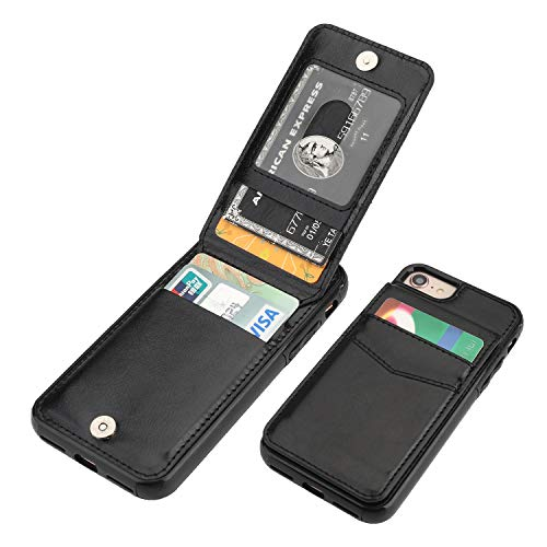 KIHUWEY iPhone 7 iPhone 8 iPhone SE 2020 Case Wallet with Credit Card Holder, Premium Leather Magnetic Clasp Kickstand Heavy Duty Protective Cover for iPhone 7/8/SE 4.7 Inch(Black)