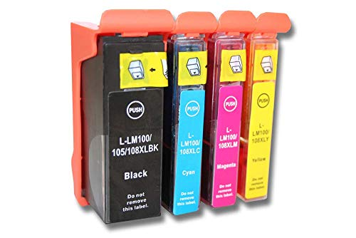 vhbw Pack de 4 Cartuchos de Tinta para Usar en Lugar de Lexmark 100, 100 XL, 100 XLA, 100XL, 100XLA, 105XL, 108XL, 14N1068E, 105, 108 (Compatible)