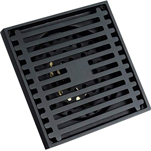 TWDYC Bodenablauf, quadratischer Dusche Bodenablauf mit Abnehmbarer Abdeckung Gitter Gitter Lange, Edelstahl-Schwarz-überzogenen Ende