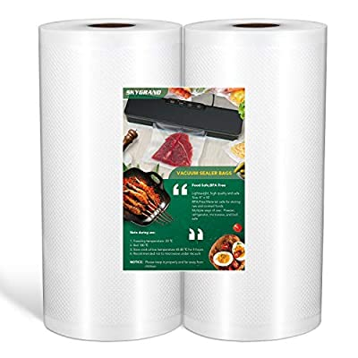 SKYGRAND Vacuum Sealer Bags For Freezer Storage Machine Bags For Food Saver, BPA Free Heavy Duty Pre-Cut Design Commercial Grade bags for Sous Vide