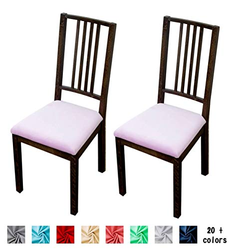 Argstar 2 Pack Soft Velvet Dining Chair Seat Covers, Washable Stretch Chair Seat Cushion Protector 2 Pack, Purple