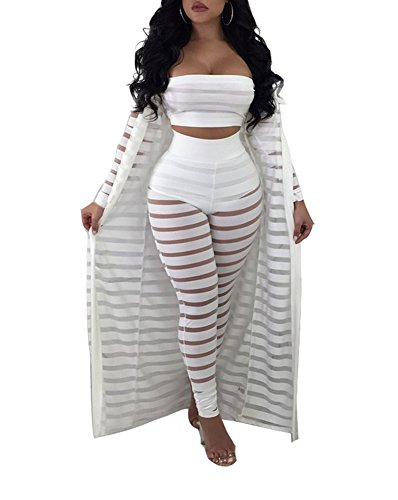 Ophestin Women Sheer Mesh Tube Top Long Pants Bodycon 3 Piece Cardigan Outfits Jumpsuits Set White S