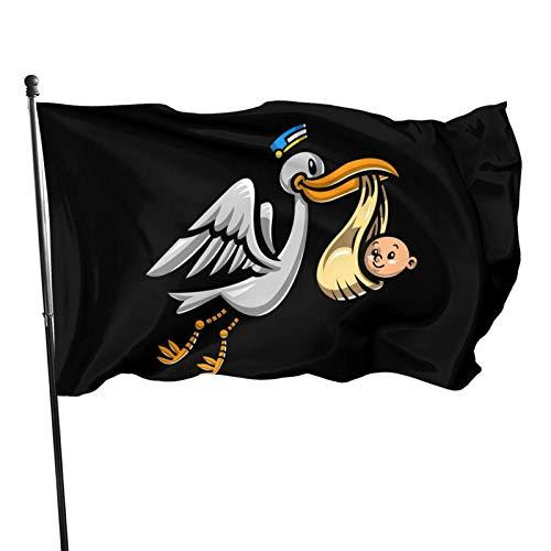 wallxxj Jardín Banner De Flying Stork Bird Entrega De Un Bebé Patio Trasero Impresión De Pancartas Vacaciones Todas Las Estaciones Césped Bandera De Jardín Bandera De Jardín Poliéster Al