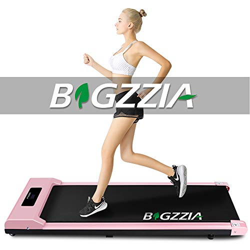 bigzzia Motorised Treadmill, Under Desk Treadmill Portable Walking Running Pad Flat Slim Machine with Remote Control and LCD Display for Home Office Gym Use, Installation-Free (Pink)