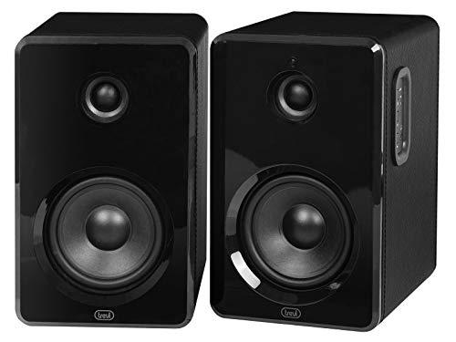 Trevi Avx 570 S2 Altoparlanti Amplificati Bluetooth, USB, Microsd, Mobile in Legno, Finitura Ecopelle