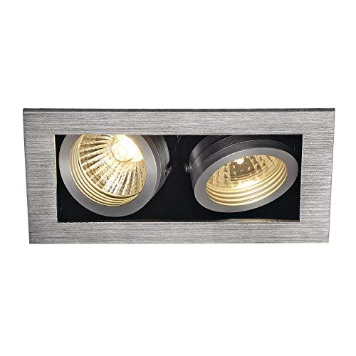 SLV Deckeneinbauleuchte KADUX 2 / Spot, Fluter, Deckenstrahler, Deckenleuchte, Einbau-Leuchte LED, Innen-Beleuchtung / GU10 50.0W aluminium