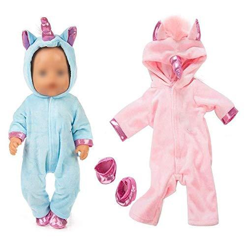 Adore store Conjuntos Unicornio Mono Incluir Cielo Azul y Rosado de la muñeca Ropa 2 Pares de Zapatos 43 cm recién Nacido del bebé Muñecas / 18 Pulgadas Las muñecas del bebé