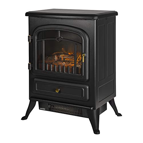 Russell Hobbs RHEFSTV1002B 1.85KW Freestanding Black Electric Stove Fire Heater with 2 Heat Settings, Adjustable Thermostat, 30 m sq Room Size, 2 Year Guarantee