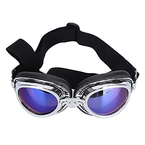 Pssopp Gafas de Sol para Perros Gafas de Sol Impermeables para Mascotas Gafas Anti-UV de Verano para Perros con Correas Plegables(Plata)