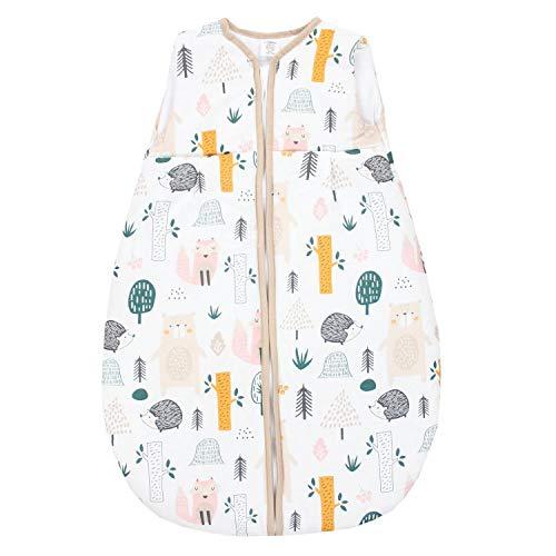 TupTam Baby Ganzjahres Schlafsack ohne Ärmel Wattiert, Farbe: Wald/Beige, Größe: 62-74