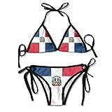 HaiRui YunDa Women Swimwear Dominican Republic Flag Boxing Bikini Set Swimsuits 2 Piece Black
