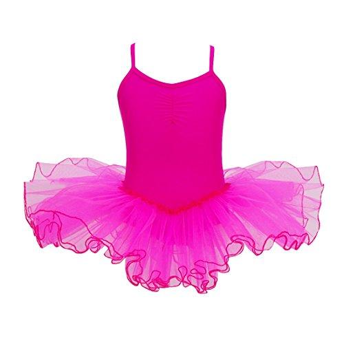 YiZYiF Mädchen Ballettkleid Ballett Trikot Tanzkleid Mädchenkleid Ballettanzug Tüll Festzug 98 104 116 128 140 152 Hot Pink 134-140