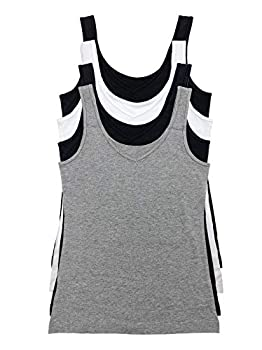 Felina Reversible Cotton Women's Tank Top   4-Pack  Heather Grey Large