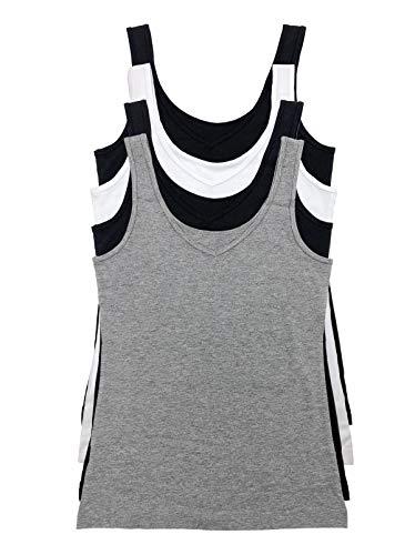 Felina Reversible Cotton Women's Tank Top | 4-Pack (Heather Grey, Large)