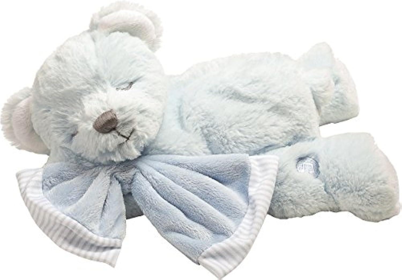 Suki Baby HugaBoo Super Soft Plush Musical Sleeping Bear with Soft Boa Blankie, bluee