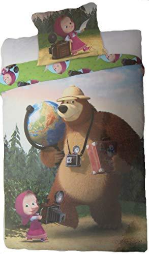 Juego de cama de Masha y el Oso Paseando al Bosque con máquina fotográfica y mapamundi Funda nórdica y funda de almohada de algodón 160 x 200 cm + funda de almohada 70 x 80 cm