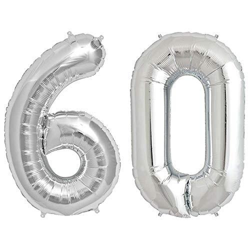 Dancing Queen Zahlen Luftballon für Diamantene Hochzeit oder Geburtstagsluftballons für 60er Geburtstag als Deko XXL Ballon Silber 100 cm