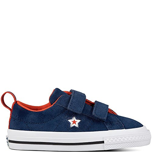 Converse Lifestyle One Star 2V OX Suede, Zapatillas de Estar por casa Bebé Unisex, Azul (Navy/White/Bright Poppy 410), 22 EU