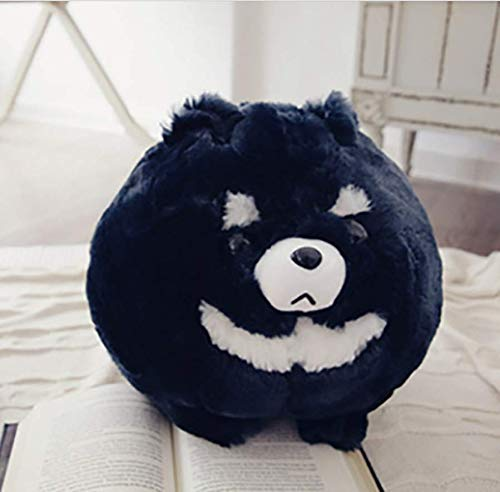 DKMDT Osito de Peluche Redondo, muñecos de Peluche, Suaves Cojines de algodón PP, Regalo de cumpleaños para niños bebé (Negro) 30 cm