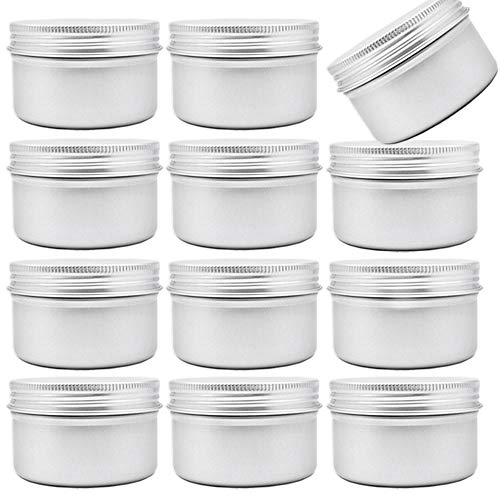 12pcs 4oz120ml Metal Candle TinsAluminum Tin Cans with Screw Lid Containers Aluminum Screw Top Round Steel Cans for Candle MakingGift Boxes Spice Storage and DIY Crafts