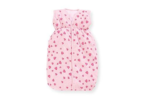 Pinolino Puppenschlafsack Herzchen, mit Klettverschluss, waschbar, 100 % Baumwolle, Puppenzubehör für Mädchen von 2 – 9 Jahren, rosa