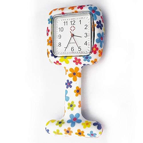 XVCHQIN Relojes Mujeres Silicona Cuadrado Reloj de Enfermera Clip - en broches Bolsillos Movimiento de Cuarzo Reloj de Enfermera para Mujer Damas, 6