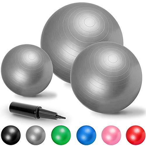 GORILLA SPORTS Gymnastikball Fitness Sitzball | Verschiedene Größen und Farben | l 55-75 cm Farbe Grau, Größe 65 cm