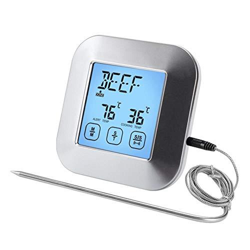Termómetro digital para carne, pantalla táctil LCD, termómetro de cocción de lectura instantánea con alarma de temporizador, sonda impermeable para horno, dulces, barbacoa, ahumador, parrilla