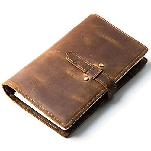 Cuadernos de diario en blanco de papel rayado plan Cuaderno de cuero de vaca, Bloc de notas de cuero de vaca, Tapa blanda, Diario de carpeta de cuaderno retro con cremallera Paquete de trabajo escolar
