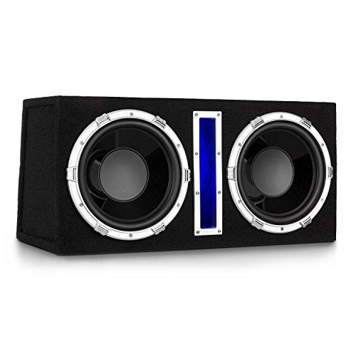 auna Basswaver X12L Auto Subwoofer Doppel-Subwoofer Car-HiFi-Subwoofer (2100 Watt Peak Leistung, 2 x 30 cm Tieftöner, 3,8 cm Schwingspule, MP3-Eingang, Filzbeschichtung, Blaue Beleuchtung) schwarz