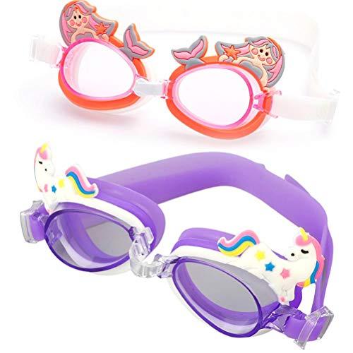 Lewpox Occhiali da Nuoto per Bambini da 2 Pezzi, Occhiali da Piscina Anti-Impermeabile antipasto, Cattiva Camera con antifog e Protezione UV, Barche per Ragazzi e Ragazze