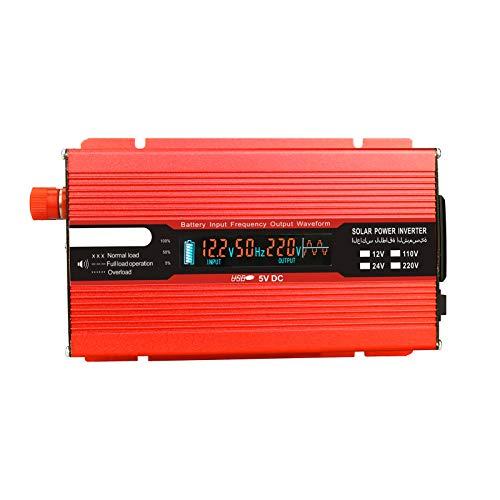 Rantoloys Convertidor de Voltaje 1500W 3000W 12V 240V Inversor Inversor de Corriente USB con 1 Enchufe y Pantalla LCD